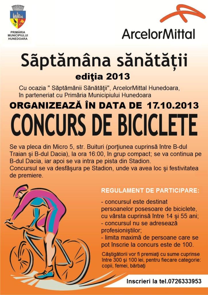 Concurs de biciclete organizat în Hunedoara, cu ocazia Săptămânii Sănătății