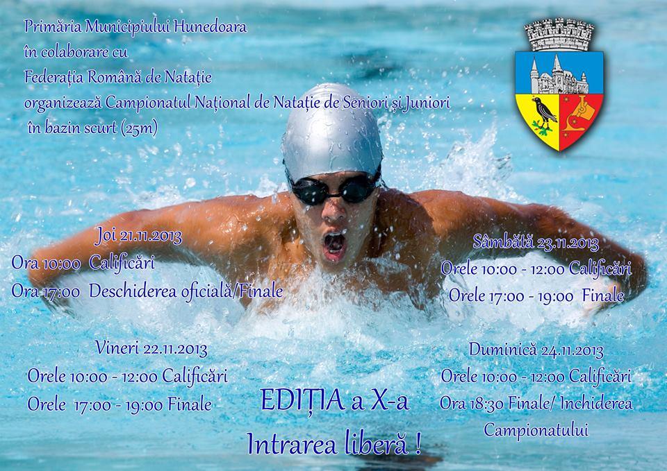 CN de natație pentru seniori și juniori, în bazin scurt, se va desfășura la Hunedoara (21-24 noiembrie)