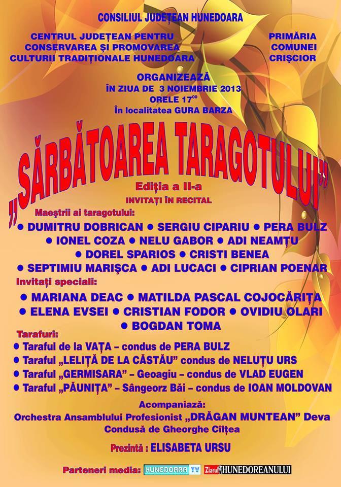 """""""Sărbătoarea taragotului"""" se va desfășura la Gura Barza"""