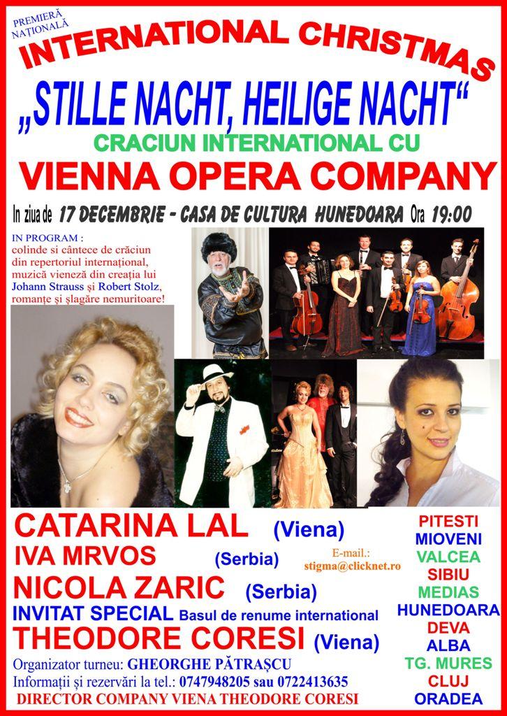 Spectacol de cântece și colinde de Crăciun susținut în Hunedoara de Vienna Opera Company