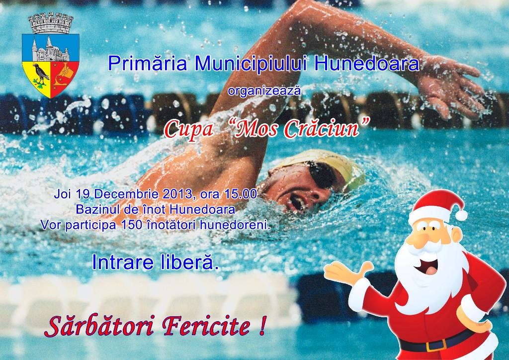 """Hunedoara: Cupa """"Moş Crăciun"""" la înot se va desfășura joi 19 decembrie"""