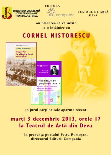 Cornel Nistorescu își lansează două volume la Teatrul de Artă din Deva