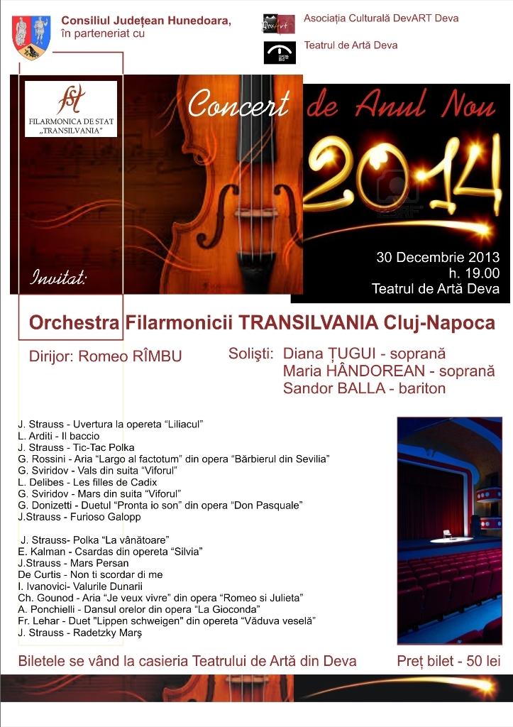 """Deva: Concert de Anul Nou susținut de filarmonica """"Transilvania"""" din Cluj Napoca"""