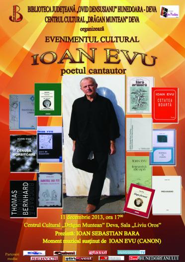 """Eveniment cultural Ioan EVU – poetul cantautor, la Centrul Cultural """"Dragan Muntean"""" din Deva (azi, ora 17)"""