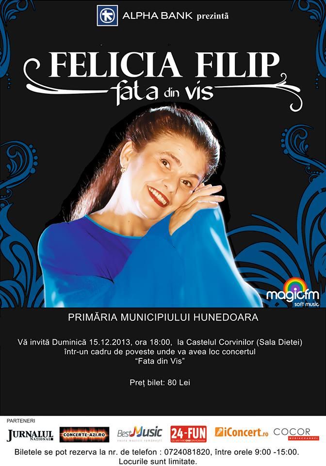 Felicia Filip concertează la Hunedoara, duminică 15 decembrie