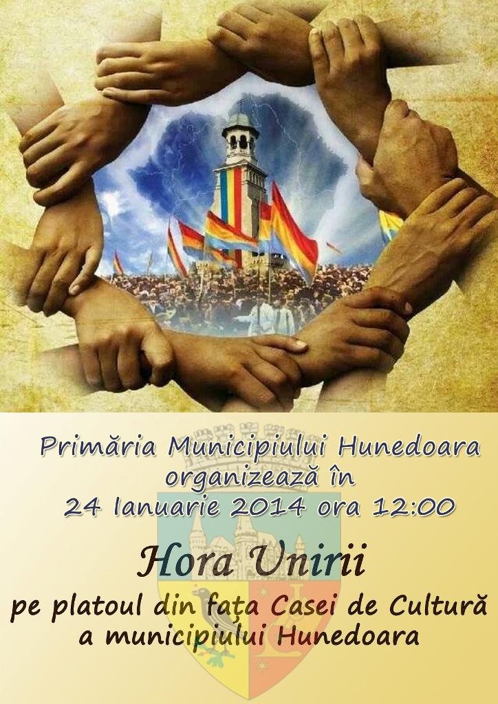 Hora Unirii, pe platoul din fața Casei de Cultură Hunedoara (24 ianuarie, ora 12)