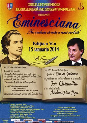 """Deva: Recital """"Eminescu"""", cu Ion Caramitru și Aurelian-Octav Popa"""