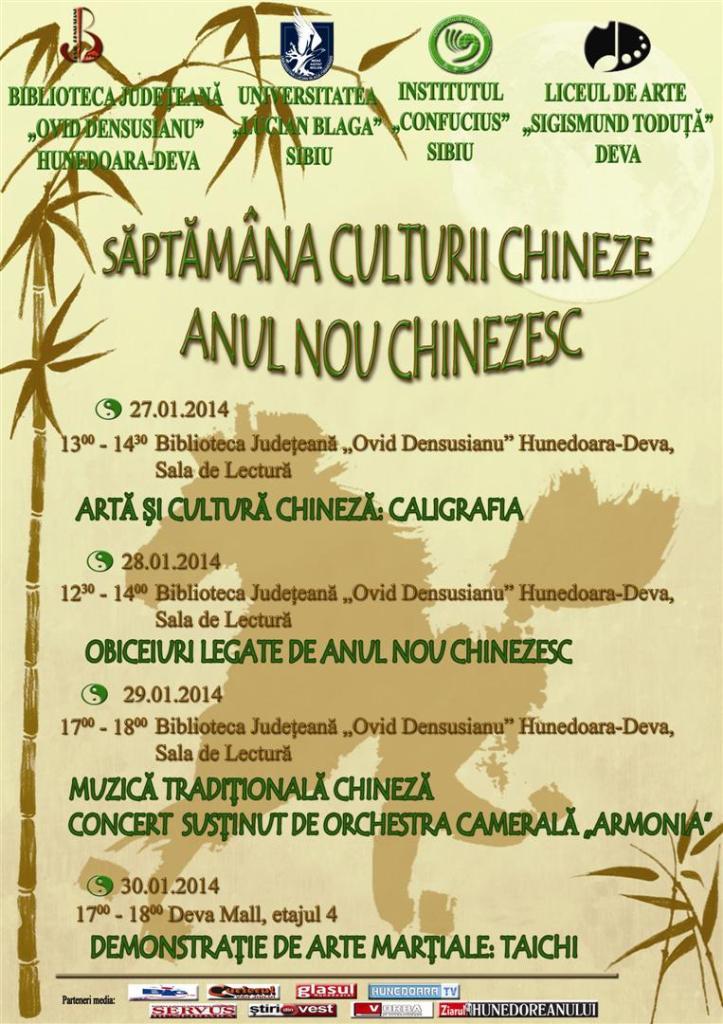 Săptămâna Culturii Chineze, la Biblioteca Județeană Deva