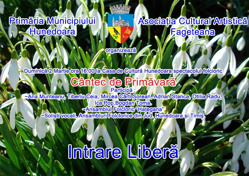 """Spectacol folcloric """"Cântec de primăvară"""", la Casa de Cultură din Hunedoara"""