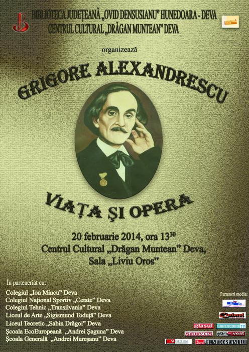 Scriitorul Grigore Alexandrescu, evocat la biblioteca din Deva