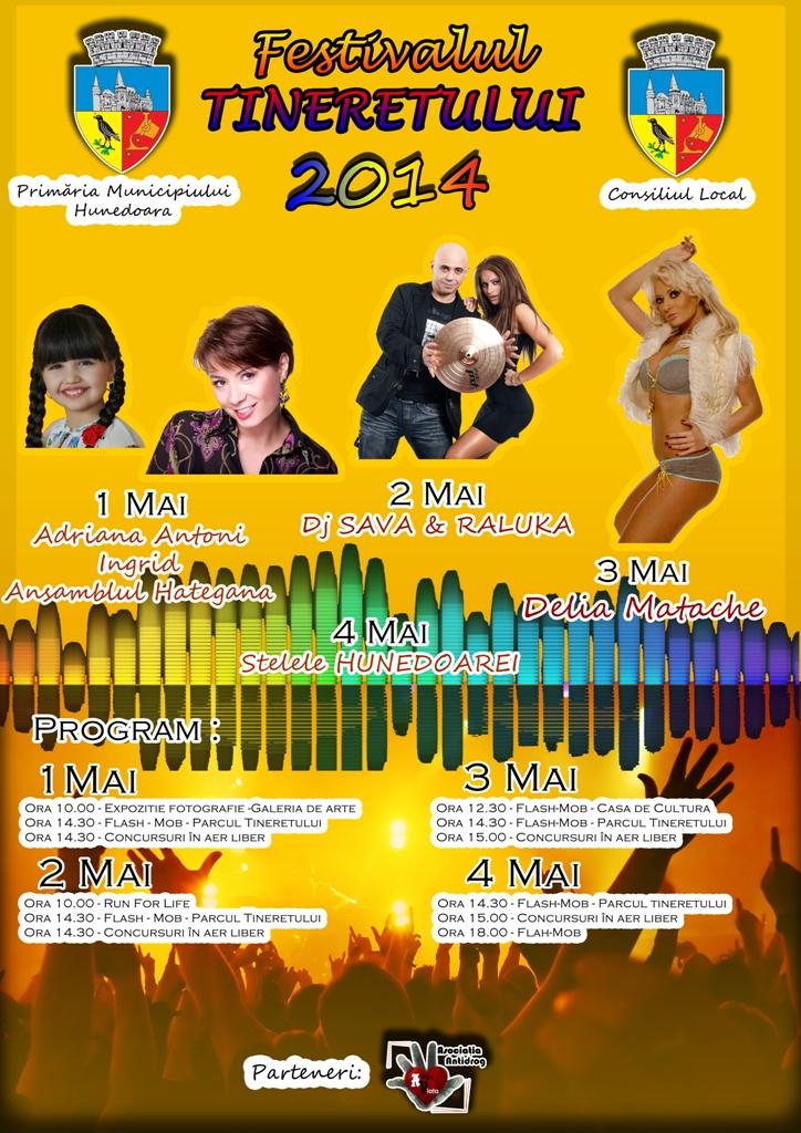 Vezi cine va cânta la Festivalul Tineretului din Hunedoara (1-4 mai)