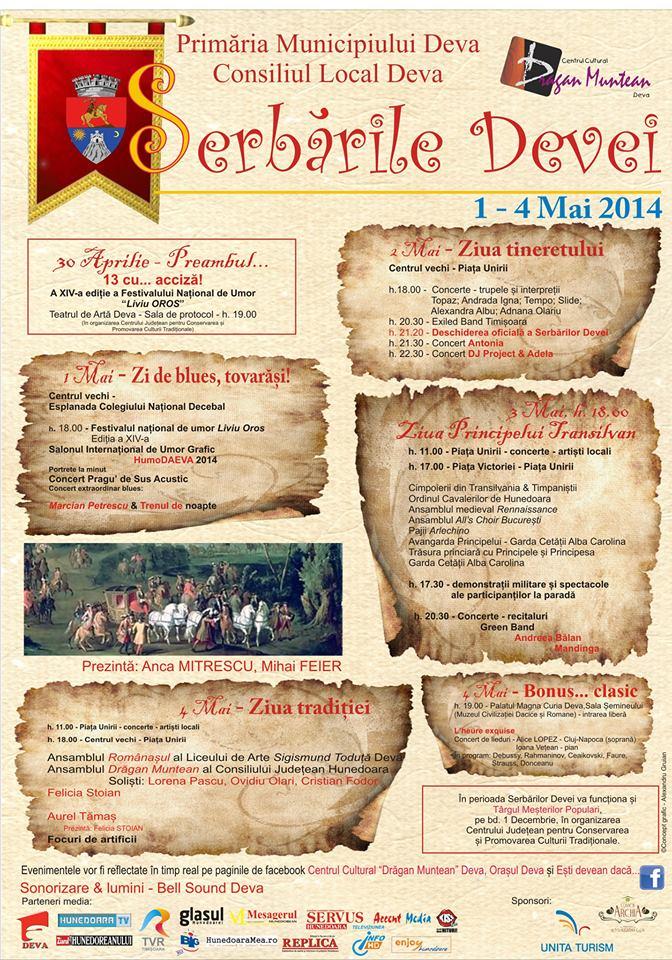 Vezi programul Serbărilor Devei (1-4 mai)