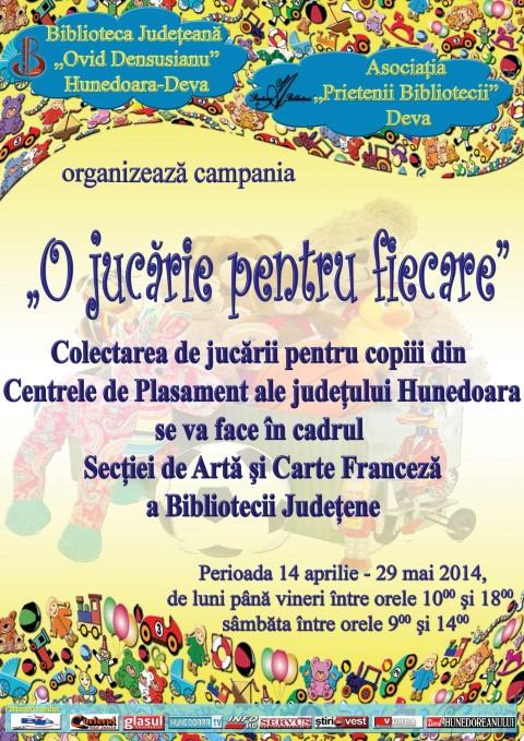 """""""O jucărie pentru fiecare"""", campanie derulată de Biblioteca din Deva, în perioada 14 aprilie – 29 mai"""