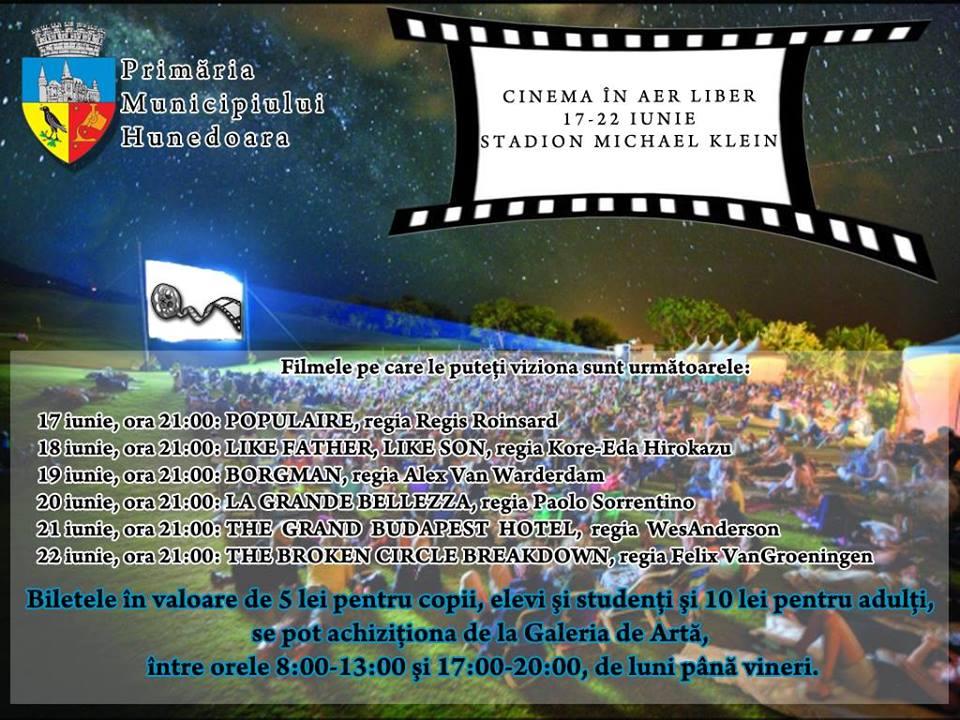 Cinema în aer liber, pe stadionul Michael Klein din Hunedoara