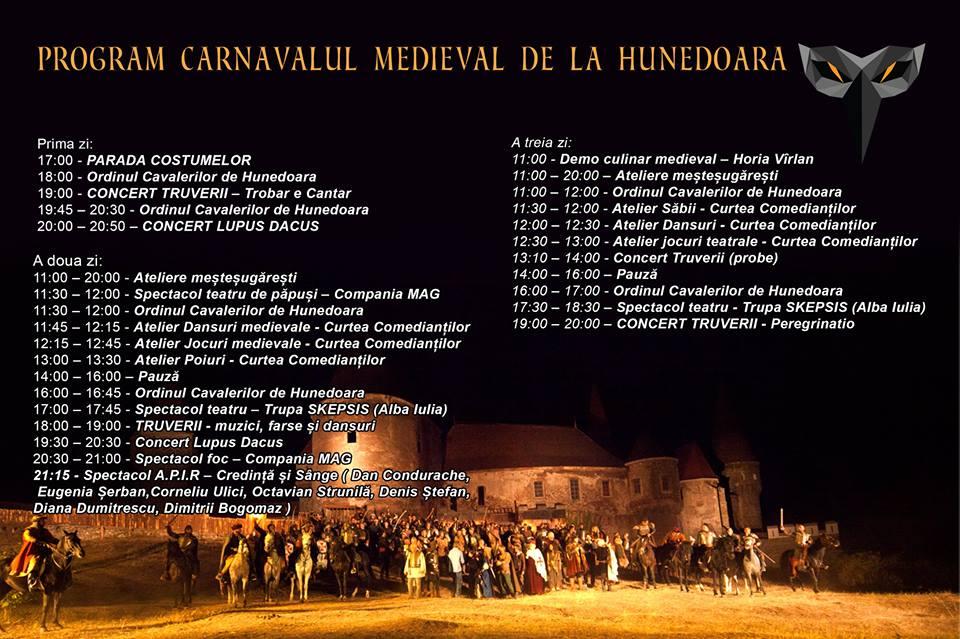 Ediția a 2-a a Carnavalului Medieval de la Hunedoara se desfășoară în acest weekend