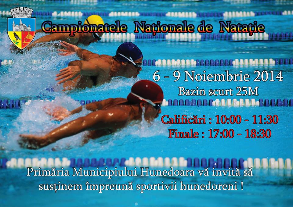 Muncipiul Hunedoara găzduiește Campionatele Naționale de natație în bazin scurt