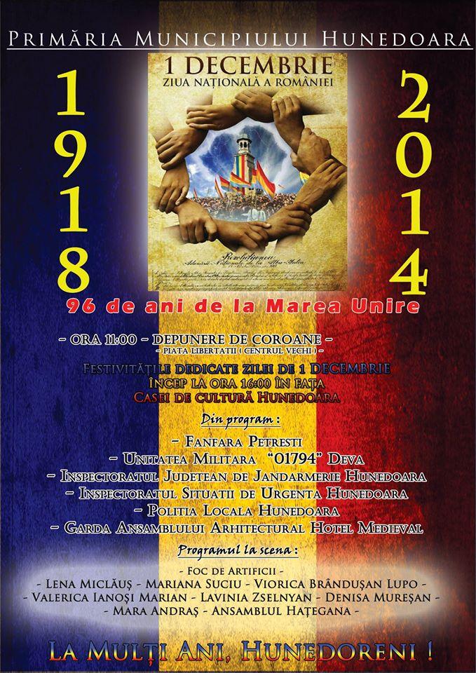 Programul evenimentelor organizate în Hunedoara de Ziua Națională a României