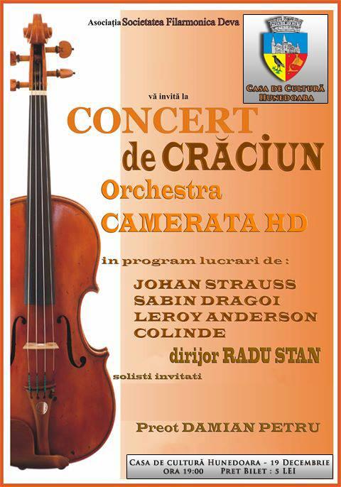 Concert de Crăciun în Hunedoara (vineri, 19 decembrie)