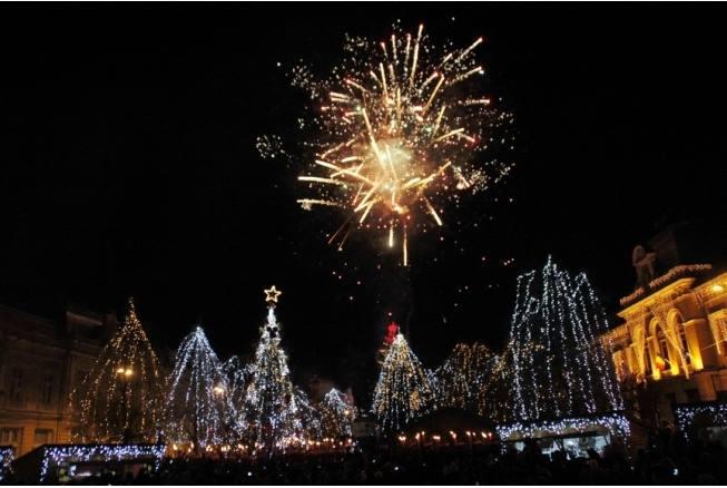 Revelion 2015 în Piața Unirii din Deva