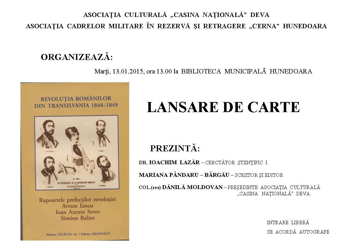 Hunedoara: Lansare de carte dedicată Revoluției de la 1848