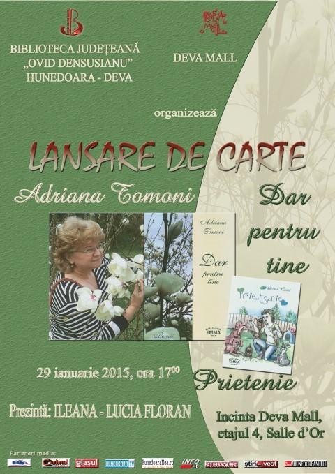 Deva: Adriana Tomoni își lansează două volume de poezie