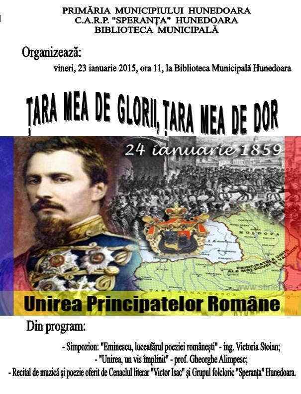 """""""Țara mea de glorii, țara mea de dor"""", manifestare organizată de Ziua Unirii la Biblioteca Municipală Hunedoara"""