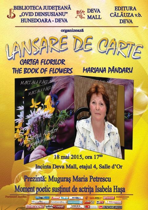 """Mariana Pândaru își lansează volum bilingv """"Cartea florilor""""/""""The Book of Flowers"""""""