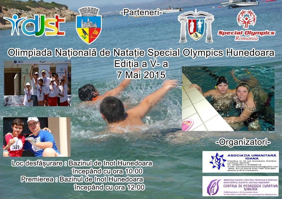 """Olimpiada Naţională de Nataţie """"Special Olympics"""" se va desfășura în Hunedoara"""
