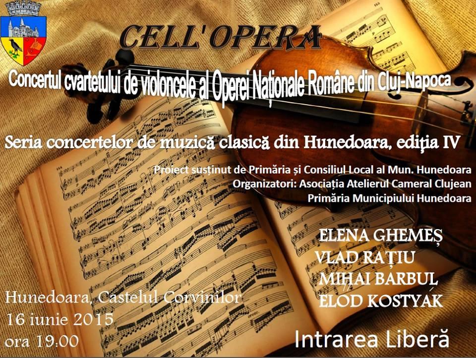 Hunedoara: Concert de muzică de cameră (marți, 16 iunie)
