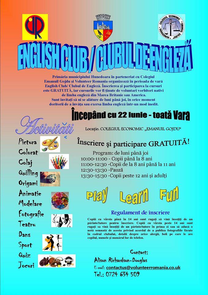 Cursuri gratuite de limba engleză organizate în municipiul Hunedoara