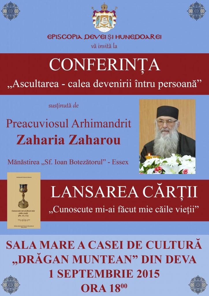 Conferinţe susținute de Părintele Zaharia Zaharou în Episcopia Devei și Hunedoarei