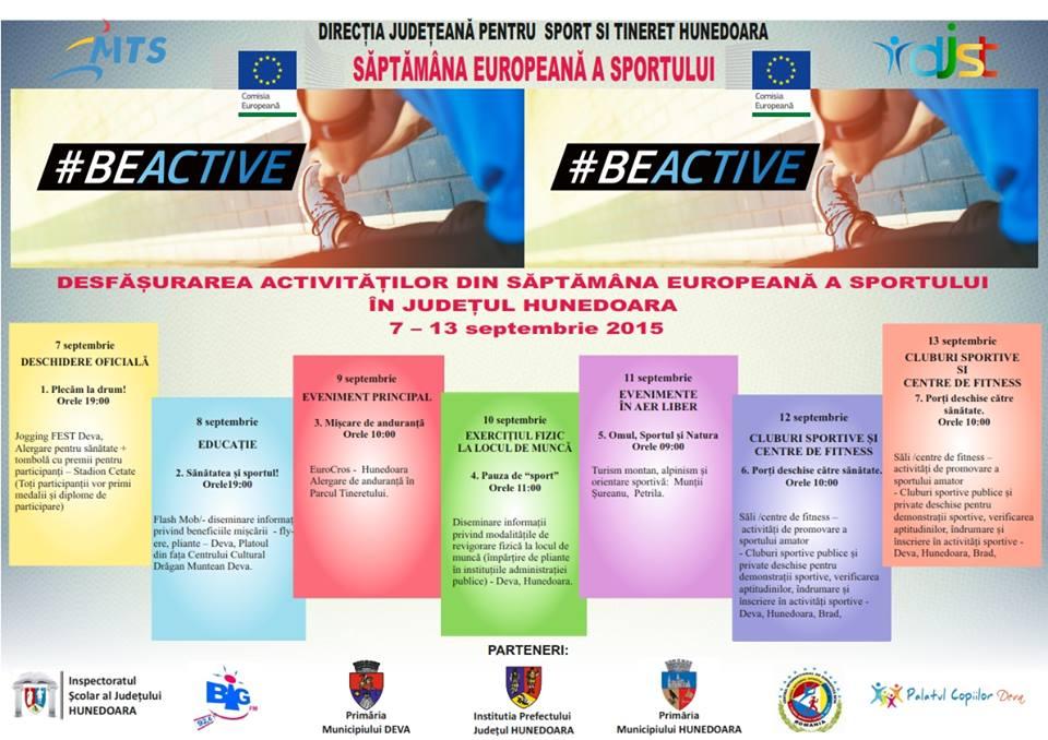 """""""Săptămâna Europeană a Sportului"""", marcată în Hunedoara în perioada 7-13 septembrie"""