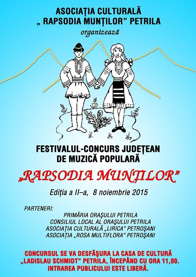 """Petrila: Festivalul """"Rapsodia Munților"""" se va desfășura în data de 8 noiembrie"""
