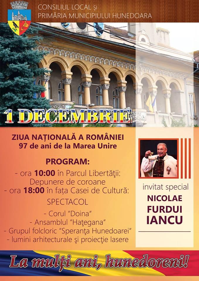 Vezi programul manifestărilor organizate în Hunedoara, cu ocazia Zilei Naționale