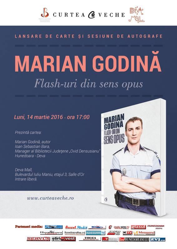 """Marian Godină lansează la Deva volumul """"Flash-uri din sens opus"""" (14 martie)"""