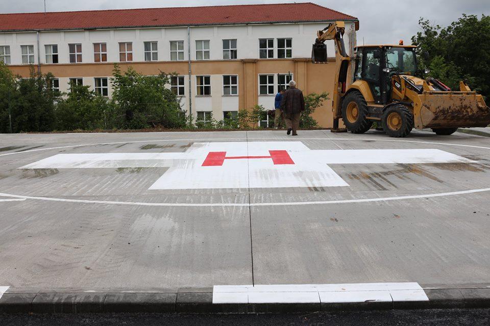 Hunedoara: Lucrările de amenajare a heliportului în curtea interioară a spitalului se apropie de final