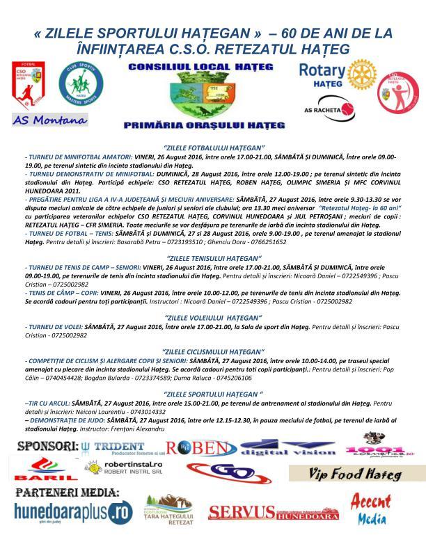 Zilele Sportului Hațegan (26-28 august). Vezi programul evenimentului