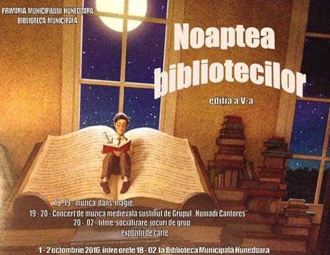 """""""Noaptea Bibliotecilor"""" în Hunedoara (1-2 octombrie)"""
