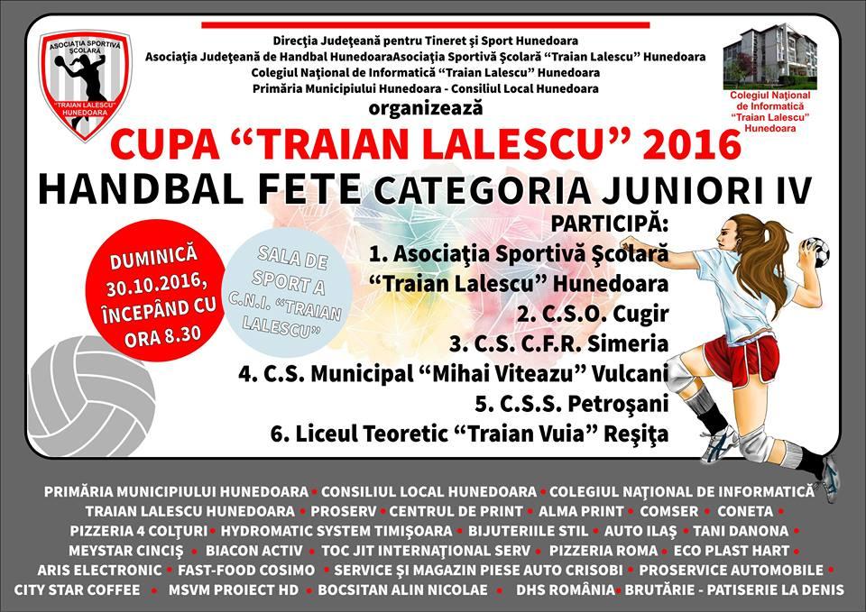 """Hunedoara găzduiește Cupa """"Traian Lalescu"""" la handbal junioare IV"""