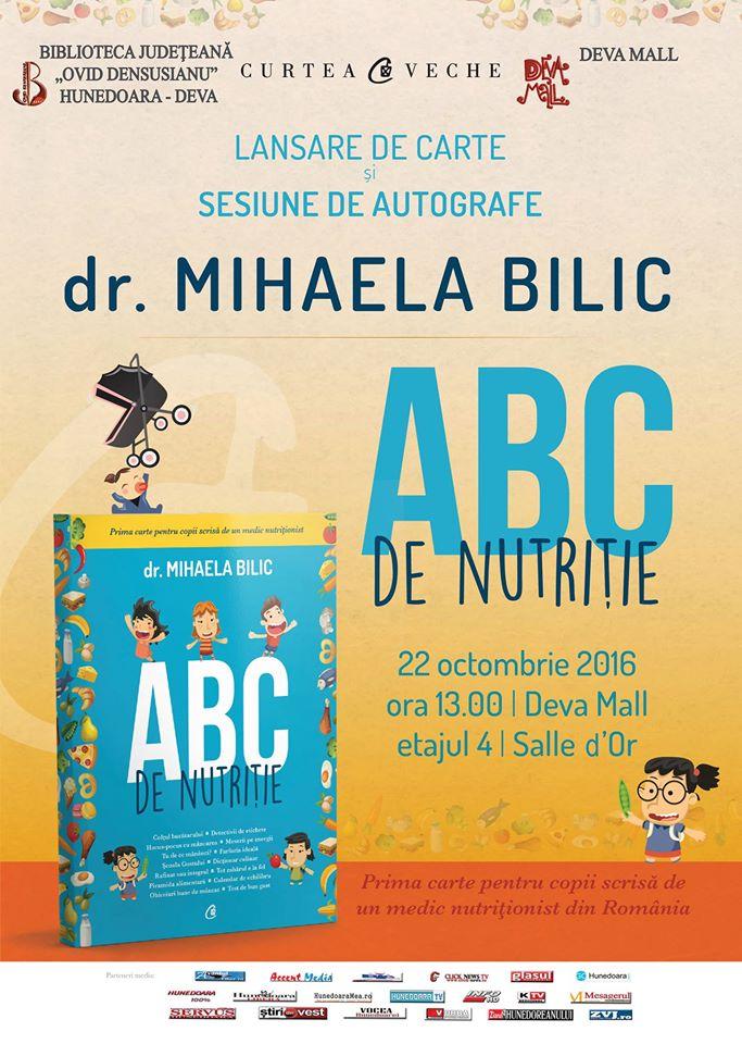 Deva: Întâlnire cu medicul nutriționist Mihaela Bilic (22 octombrie, ora 13)