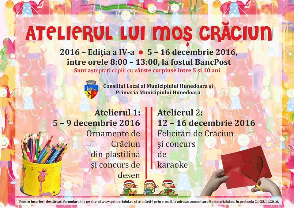 """Primăria Municipiului Hunedoara organizează """"Atelierul lui Moş Crăciun – atelier de creaţie pentru copii"""""""