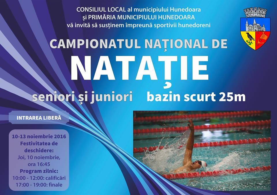 Hunedoara găzduiește Campionatul Național de Înot în bazin scurt (10-13 noiembrie)