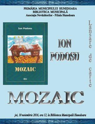 Lansare de carte Ion Podosu la Biblioteca Municipală Hunedoara (joi, 10 noiembrie, ora 12)