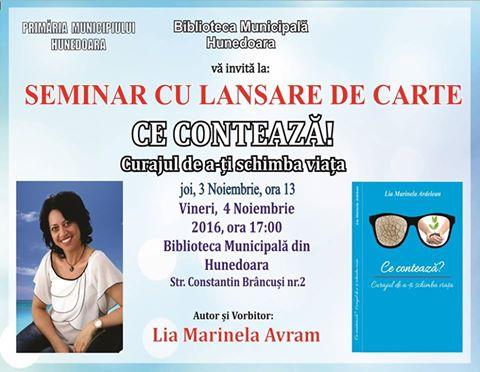 Seminar cu lansare de carte la Biblioteca Municipala Hunedoara