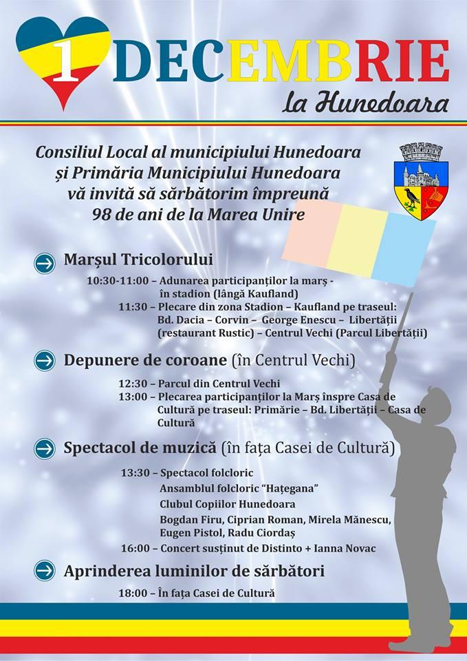 Vezi cum va fi sărbătorită Ziua Națională a României în municipiul Hunedoara