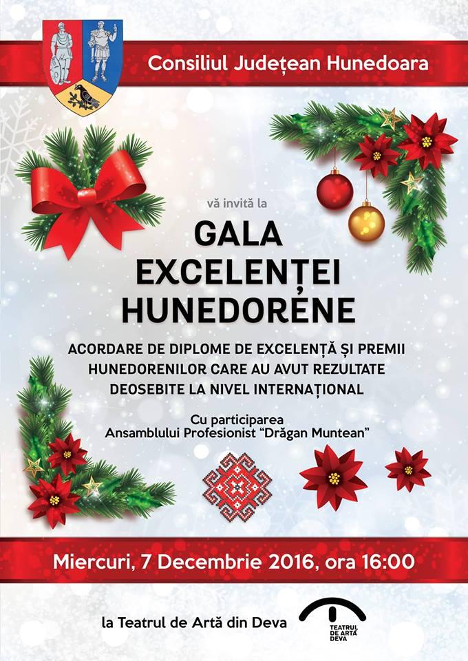 Gala Excelenței Hunedorene se va desfășura la Deva (7 decembrie, ora 16)