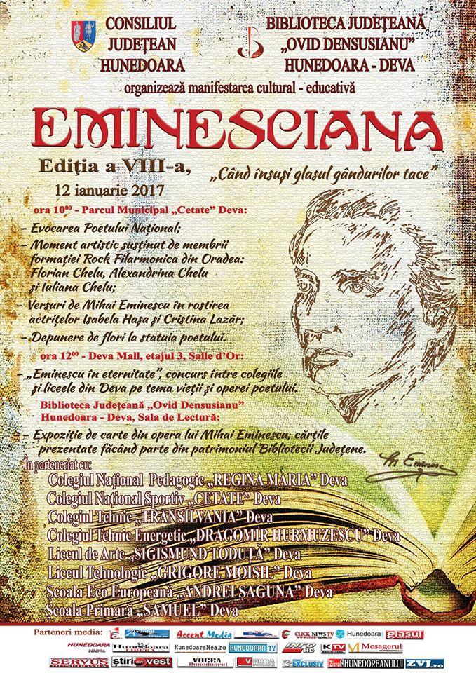 Eminesciana – manifestare culturală organizată în Parcul Cetății din Deva (12 ianuarie)