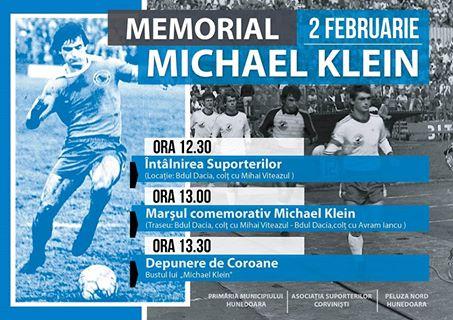 Fotbalistul Michael Klein va fi comemorat în Hunedoara (2 februarie)