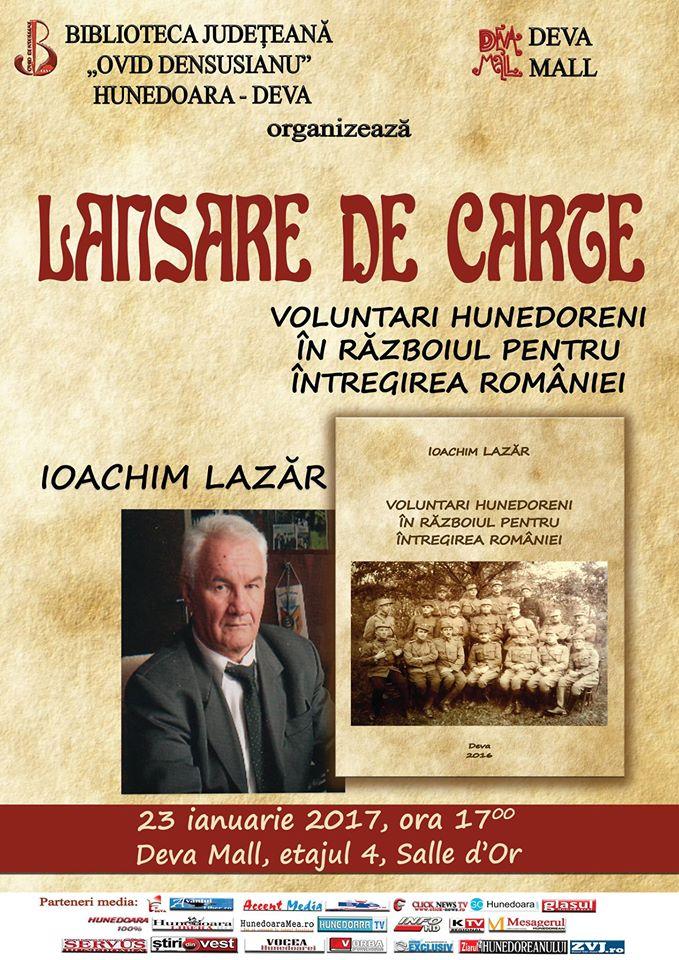 Deva: Lansare de carte – Ioachim Lazar (23 ianuarie, ora 17)
