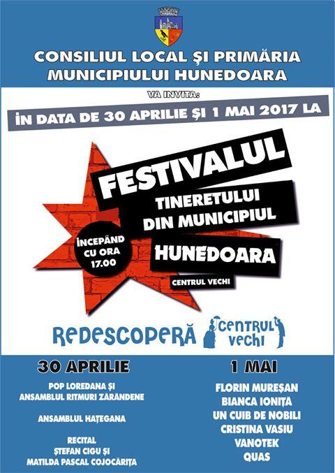 Festivalul Tineretului se va desfășura în Hunedoara în zilele de 30 aprilie și 1 mai